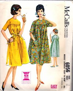 """Vintage 1961 McCall's 6056 Misses' Lounger Sewing Pattern Size 14 Bust 34"""" by Recycledelic1 on Etsy"""