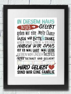 Druck: IN DIESEM HAUS WIRD GELEBT / Hausordnung von InkDrip auf DaWanda.com