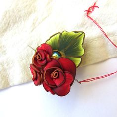 Red Rose Bouquet Needle Minder Sewing Needle Nanny for your Needlepoint or Cross Stitching by Claybykim