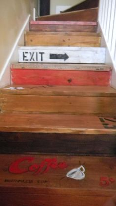 I did my stairs too...thanks Funky Junk!
