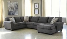 """Sorenton 28600-17-34-66 145"""" Wide Sectional Sofa with Right Arm Corner Chaise, Armless Loveseat and Left Arm Sofa in Slate Color"""