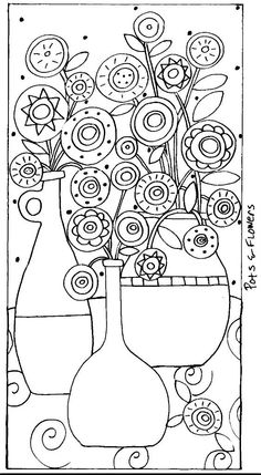 Rug Hook Paper Pattern Pots Flowers Abstract Folk Art Karla G Folk Embroidery, Embroidery Patterns, Art Patterns, Painting Patterns, Flower Patterns, Bordado Popular, Karla Gerard, Rug Hooking Patterns, Coloring Book Pages