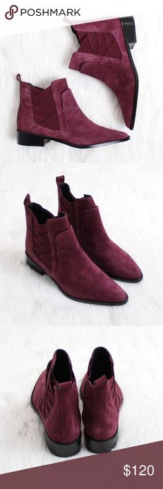 """REBECCA MINKOFF Jack Chelsea Boot in Dark Maroon Brand new without box!  Size: 7.5 Color: Dark Maroon  A layered design of asymmetrical goring updates the look of a Chelsea boot that goes with just about everything. Made from lush suede, this versatile look is finished with a pointed toe and low, stacked heel.  1 1/4"""" heel. 4 1/2"""" shaft. Elastic-gore inset. Leather upper and lining/synthetic sole. Imported. Rebecca Minkoff Shoes Ankle Boots & Booties"""