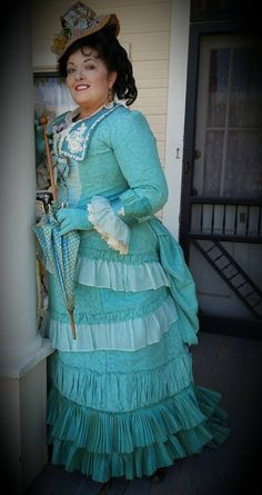 Another 1880's confection in seafoam and teal, straw chapeau is also made by me on one of my antique straw sewing machines.