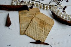 Scrapbooking journal pockets coffe stained by Vintagecoffeestains