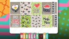 Kawaii Sushi Planner Stickers, Weekly Sticker Kit, Erin Condren Life Planner Stickers, Happy Planner Stickers by MoogleyandMe on Etsy