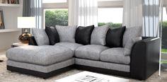 Dalan Corner Black Grey Left Hand Sofa