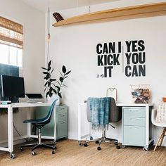 Counting down to the new year with the ✨TOP 10 MOST LOVED WORKSPACES OF 2016✨ Starting with...  NUMBER 10!  You guys LOVED this 90's rap inspired workspace of interior designer Vanessa from @studiomatsalla...so much so, it was our 10th most popular workspace of 2016  Such a fun, upbeat space with the @swenyoliving decal  Can I kick it? Yes you can! GREAT motivation for 2017 ✨ Thanks Vanessa (+ Swenyo!) for the #workspacegoals inspo this year