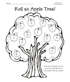Roll an Apple Tree: dice game. Students roll a single die and then fill in the corresponding apple. They only get to fill in one apple each roll. Students can use crayons, markers, or the ever so popular.Do-a-Dot Markers to fill in the apples. Preschool Apple Theme, Apple Activities, Fall Preschool, Autumn Activities, Math Classroom, Kindergarten Math, Fun Math, Teaching Math, Preschool Activities