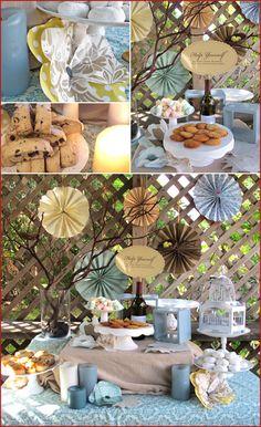 4 Nesting Shower, Birds, Nests, Decor Decorations Shower, Birthday, Bridal Baby Teal, Turquoise Dessert buffet, bar