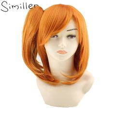 Best Similler Harajuku Short Curly Orange Wiht Pigtails Cosplay Synthetic Wigs With Tiger s Mouth Clip. Click visit to read descriptions