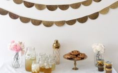 Fall+Bridal+Shower:+Gold+Scalloped+Banner