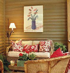 cozy cabin sun room or screened porch