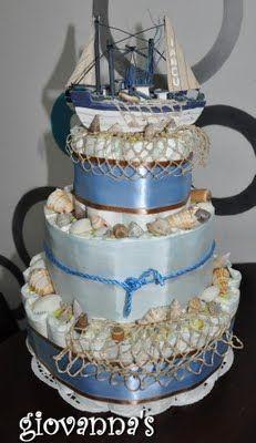 Beachy themed diaper cake