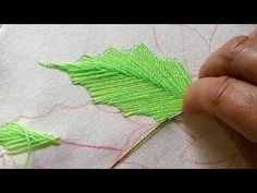 Floral Embroidery Pattern for Beginners - Craft & Patterns Embroidery Leaf, Hand Embroidery Tutorial, Custom Embroidery, Embroidery Stitches, Embroidery Patterns, Learn Embroidery, Embroidered Leaves, Running Stitch, Satin Stitch
