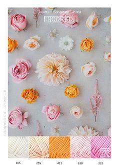 Kleurinspiratie katoen - bloemen in de kleuren roze / oranje