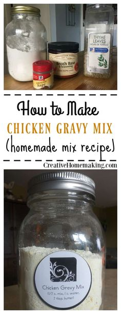 to Make Cream of Chicken Soup Mix This homemade chicken gravy mix is inexpensive, easy to make, and contains no MSG.This homemade chicken gravy mix is inexpensive, easy to make, and contains no MSG. Homemade Dry Mixes, Homemade Spices, Homemade Seasonings, Homemade Food Gifts, Homemade Soup, Soup Mixes, Spice Mixes, Spice Blends, Homemade Chicken Gravy