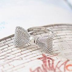 Copper wire mesh bow ring ring animal ring retro ring