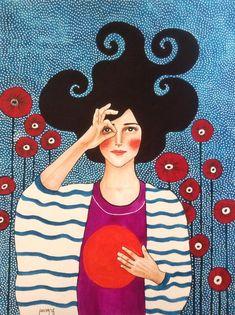 Por amor al arte: Hülya Özdemir Illustration Inspiration, Art Et Illustration, Art Pop, Art Amour, Illustrations Poster, L'art Du Portrait, Art Design, Female Art, Painting & Drawing