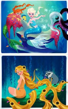 Anna and Elsa in the world of Atlantis, and Rapunzel as Pocahontas