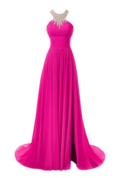 Bess Bridal Women's Beaded Halter Split Long Chiffon Prom Evening Dresses US6 Fuchsia. Soft Chiffon Fabric. A Line Silhouette with Beads,Sequins and Split Side. Formal and Elegant for Wedding,Evening or Prom Party etc. Custom-made and rush order available without any extra fees.Please send us your detailed measurements of bust, waist,hips and hollow to floor (barefoot) after you have placed the order. Estimated Delivery is set automatically. You will receive your dresses within 12 days…