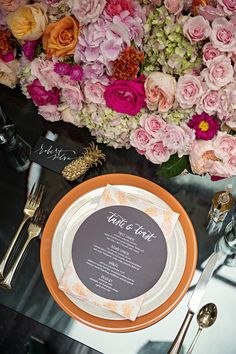 palm beach inspired wedding place setting | jubilee events, carla ten eyck, the white dress by the shore, coral pheasant, ana parzych cakes