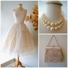 Beautiful 1950's eyelash lace tiered wedding dress, over sized pearls (48.) and a beaded handbag (68.)