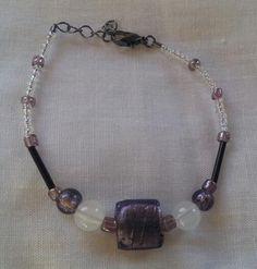"Dainty Purple, Black & White Beaded 6"" Bracelet - https://www.etsy.com/shop/BHawkDesigns"
