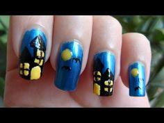 Spooky House For Halloween Nail Art Tutorial