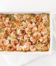 Garlicky Baked Shrimp|This easy-to-throw-together dish has an irresistible crunchy topping of panko bread crumbs, butter, and parsley. Tip: Because shrimp are typically shipped frozen, then defrosted before they hit the seafood case, save money and be better assured of freshness by purchasing bagged frozen shrimp. -- These were easy and yummy. Not too bad for weight watchers points also.