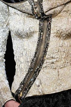 Gold & Black - elegant asymmetry and textures - decorative zip; fashion details // Armani Prive