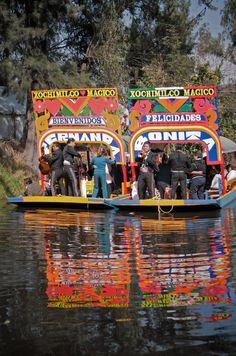 Mariachis boat-hopping at Xochimilco, Mexico City