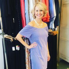 Ginger is modeling our new pinstriped off-the-shoulder dress from Jude Connally with a Loren Bell necklace. Perfect for Spring Break, and we are offering free shipping if you shop our website! ...#lorrenbell #shopatgingers #dress #summerdress #offtheshoulder #pinstripe #judeconnally #gingersfavorites Off The Shoulder, Shoulder Dress, Spring Break, The Selection, Modeling, Sari, Summer Dresses, Free Shipping, Website