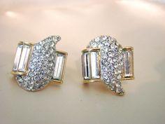 1960s1970s MONET Baguette/Pave Rhinestone Earrings by joysshop, $14.95