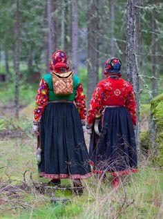 The pasture women, vallkullorna, in Dalecarlia.
