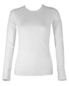 Ladies White Long Sleeve Thermal Top Crew Neck at Amazon Women s Clothing  store  6a8ef5ba4