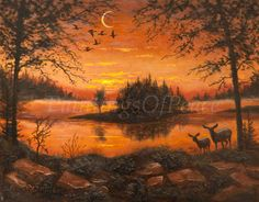 Sunset Landscape Painting-  Original Painting - Wildlife Painting - 11 x 14- Huge Sale this month- 30% OFF. $198.00, via Etsy.
