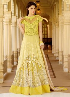 Incredible Yellow Party Wear Anarkali Salwar Kameez