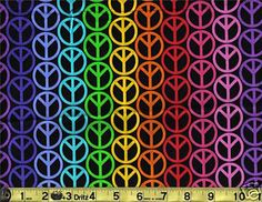 Hippie Peace Sign Symbol Bright Rainbow Groovy Neon Colors By The Half Yard