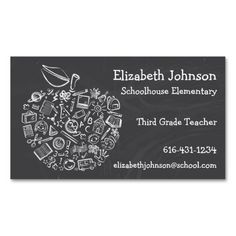 Teachers Apple Business Card. Make your own business card with this great design. All you need is to add your info to this template. Click the image to try it out!