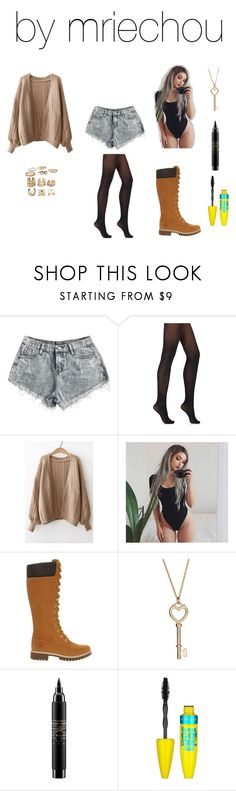 """Untitled #555"" by mriechou ❤ liked on Polyvore featuring Wolford, WithChic, Timberland, MAC Cosmetics and Maybelline"