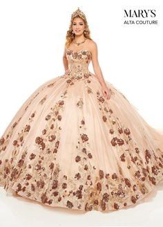 Xv Dresses, Quince Dresses, Couture Dresses, Types Of Dresses, Plus Size Dresses, Bridal Dresses, Rose Gold Quinceanera Dresses, Masquerade Dresses, Strapless Organza