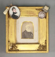 A Victorian Naval General Service Medal, awarded to William Martin, Midshipman, with Trafalgar clasp and English School, c.1815 PORTRAIT OF WILLIAM MARTIN, IN HIS NAVAL UNIFORM, 6cm   together with; a photograph of him in old age wearing his medal  Sold for £9,800 19th November 2013