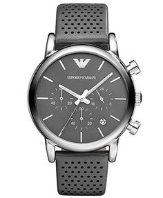 Very Simple _ Emporio Armani Watch, Men's Chronograph Gray Leather Strap 41mm AR1735