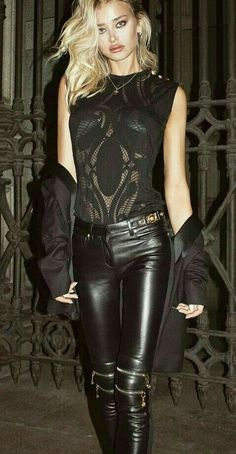 gigi hadid latex at DuckDuckGo Burgundy Leather Jacket, Black Leather, Blue Mom Jeans, Tight Leather Pants, Olive Jacket, Leder Outfits, Leather Dresses, Only Fashion, Women's Fashion