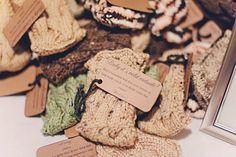 warm favor ideas for winter weddings | handmade drink koozies