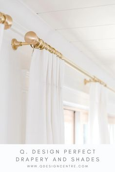 """Our Satin Brass hardware is available in 1"""" or 1 3/8"""" diameter rods, and is really the prettiest finish. Seen here in the home of @thelesliestyle, our 1"""" rods, rings, brackets, and knob finials look right at home paired with our Cozy Linen drapery. Click to explore all of Q. Design's gorgeous hardware finishes, and to place your order today! Not sure of what you need? Reach out to us and we'll help! Gold Curtain Rods, Gold Curtains, Drapery Panels, Drapery Hardware, Brass Hardware, Window Coverings, Window Treatments, Classy Living Room, Drapery Designs"""