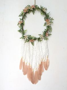 Items similar to Pretty in Pink' Flowers + Lace Wood Vine Wreath Doily Dreamcatcher on Etsy Earth Craft, Diy And Crafts, Arts And Crafts, Vine Wreath, Wedding Wreaths, Boho Wall Hanging, Just Dream, Lace Weddings, My New Room