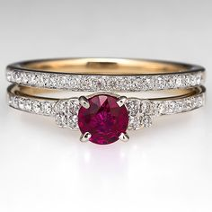Estate Ruby & Diamond Engagement Ring Wedding Bridal Set 14K Gold Its to small for me, dainty. I prefer a showstopper like mine but this is very pretty.