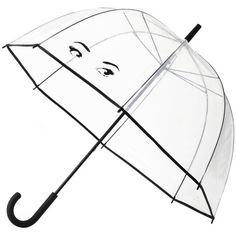 kate spade new york Clear Umbrella - Eyes ($41) ❤ liked on Polyvore featuring accessories, umbrellas, clear, dome shaped umbrella, transparent dome umbrella, transparent umbrella, kate spade and clear umbrella